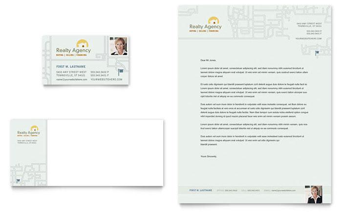 real estate agent  u0026 realtor business card  u0026 letterhead