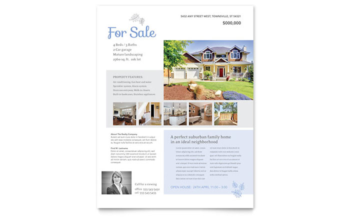 Real Estate Listing Flyer Template Design – House for Sale Flyer Template