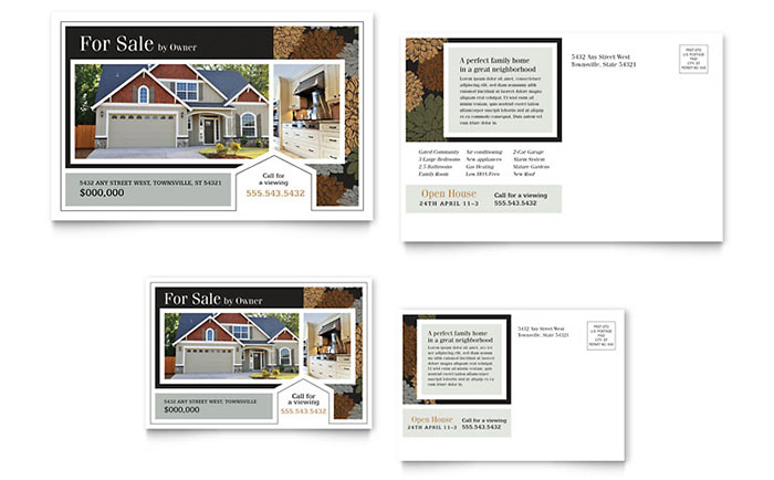 Suburban real estate postcard template design for 6x4 postcard template