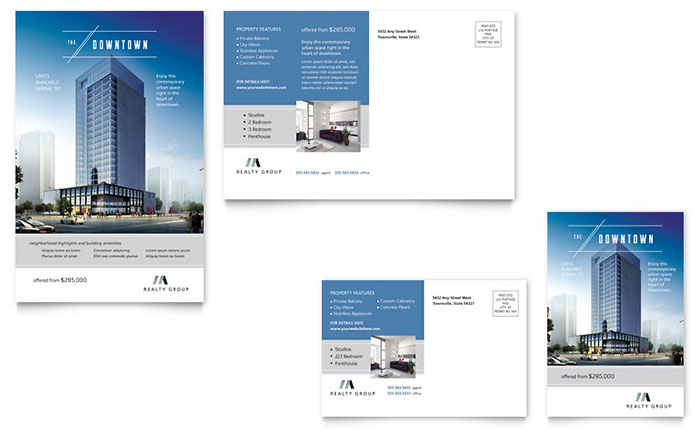 Downtown Apartment Postcard Template Design