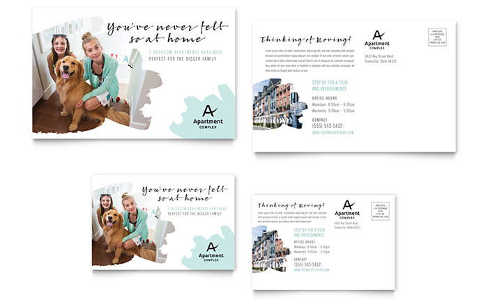 Apartment postcard template design for 6x4 postcard template