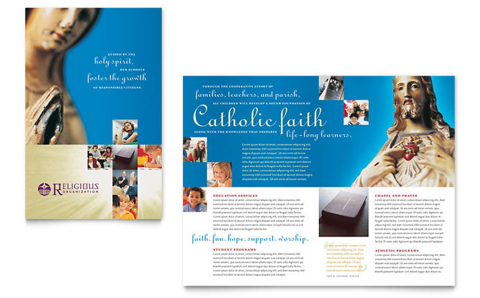 church brochures templates - catholic parish and school brochure template design