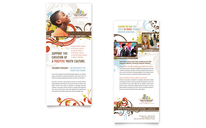 Church Youth Group Rack Card Template Design