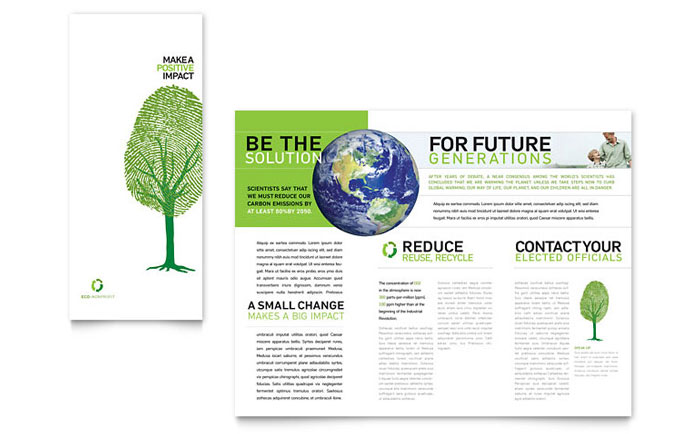 Environmental Non Profit Tri Fold Brochure Template Design