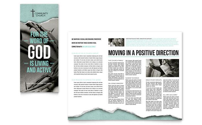 Bible church brochure template design for Church bulletin templates indesign