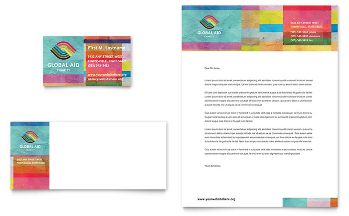 Humanitarian Aid Organization Business Card & Letterhead Template Design