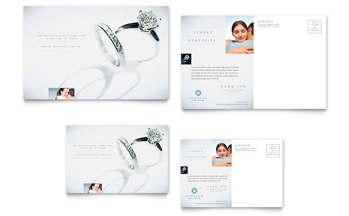 Jeweler Amp Jewelry Store Postcard Template Design
