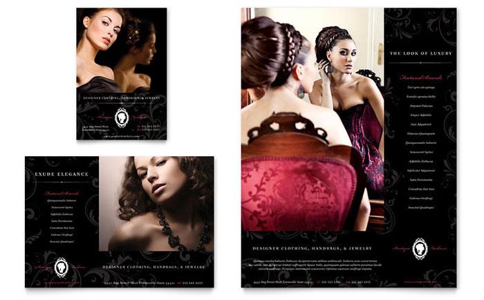 formal fashions  u0026 jewelry boutique flyer  u0026 ad template design