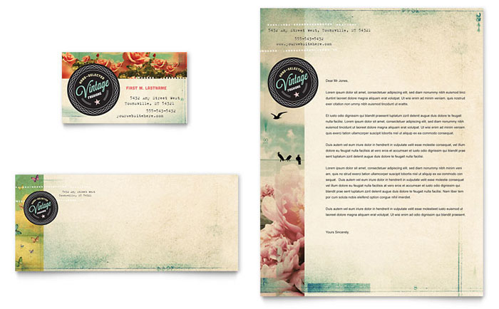 vintage clothing business card  u0026 letterhead template design