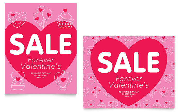 Valentine's Day Sale Poster Template Design