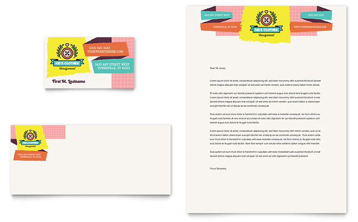 kids consignment shop business card amp letterhead template