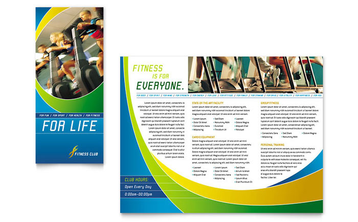 Sports health club brochure template design for Health pamphlet template