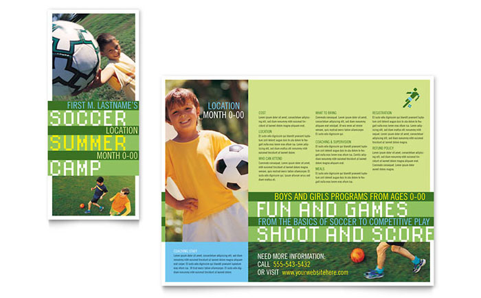 Soccer sports camp brochure template design for Baseball brochure template