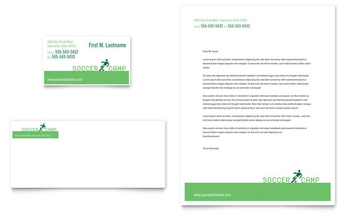 Soccer Sports Camp Business Card & Letterhead Template Design