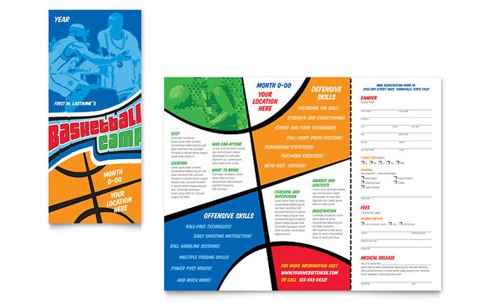 Basketball sports camp brochure template design for Baseball brochure template
