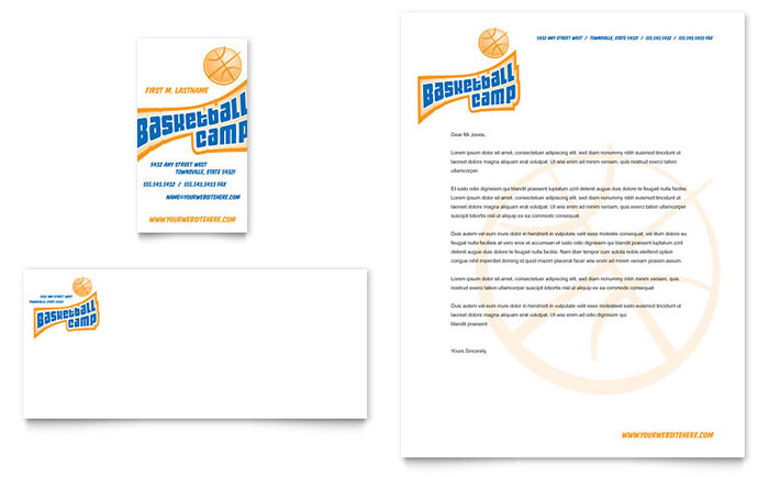 Basketball Sports Camp Business Card & Letterhead Template Design