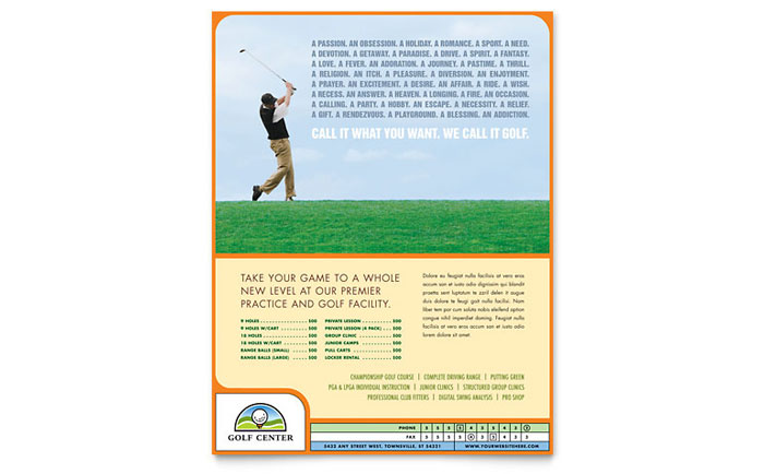 golf instructor course flyer template design. Black Bedroom Furniture Sets. Home Design Ideas