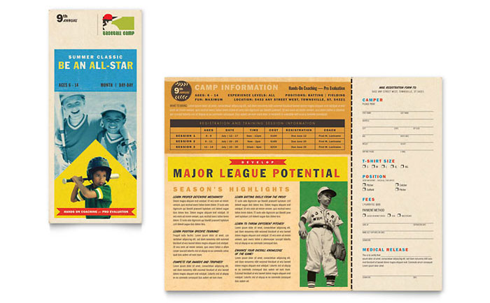 baseball sports camp brochure template design