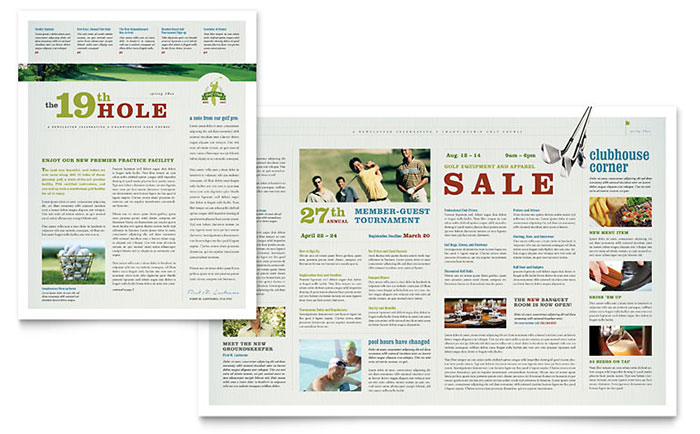 golf course instruction newsletter template design. Black Bedroom Furniture Sets. Home Design Ideas