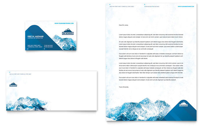 ski  u0026 snowboard instructor business card  u0026 letterhead template design