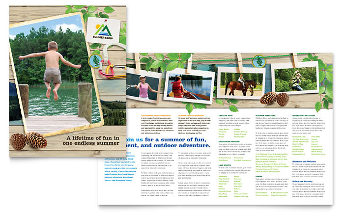 Kids summer camp brochure template design for Printable travel brochure template for kids