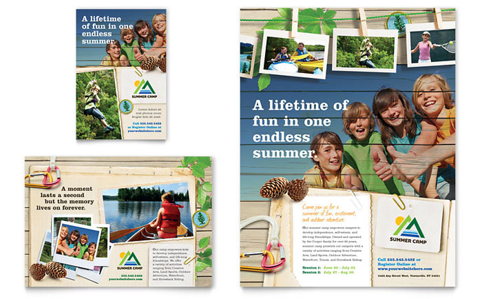Kids Summer Camp Flyer & Ad Template Design