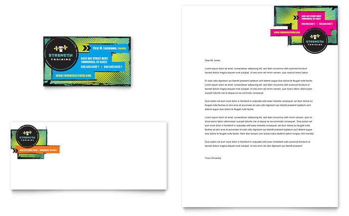 Strength Training Business Card & Letterhead Template Design