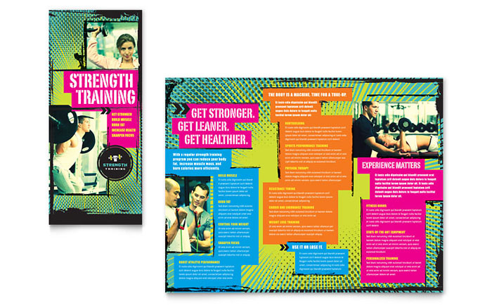 training course brochure template - strength training tri fold brochure template design