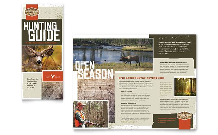 Hunting Guide Tri Fold Brochure Template Design