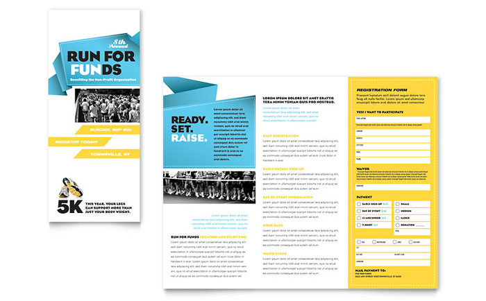 Charity run tri fold brochure template design for Templates for tri fold brochures