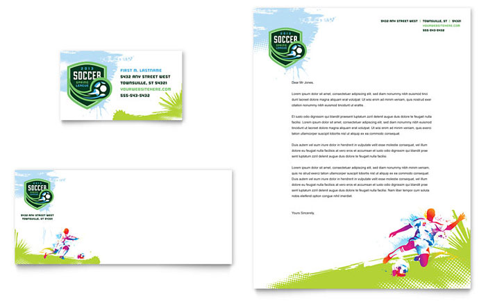 Youth Soccer Stationery Design