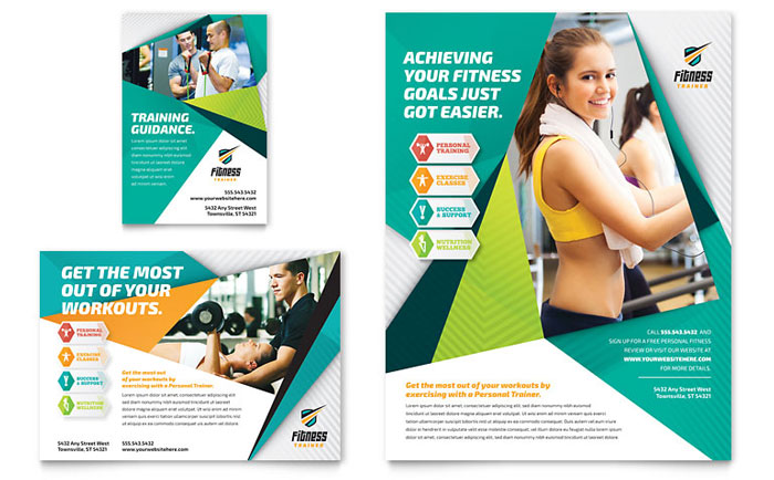 Health Club Fitness Center – Gym Brochure Templates