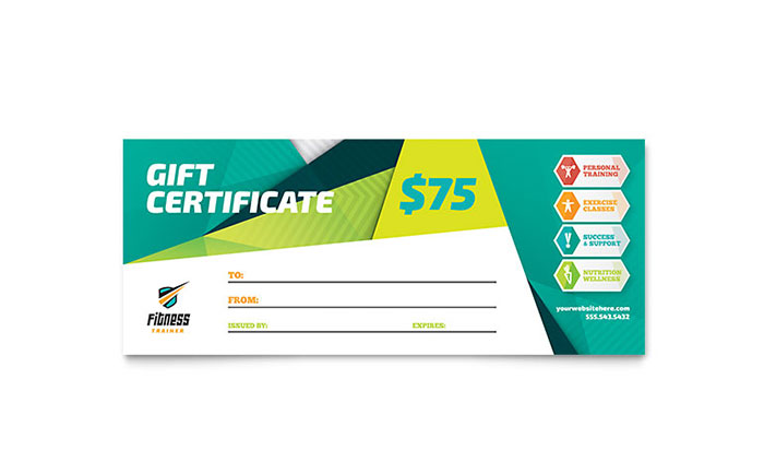 Great Fitness Gift Certificate Design Idea