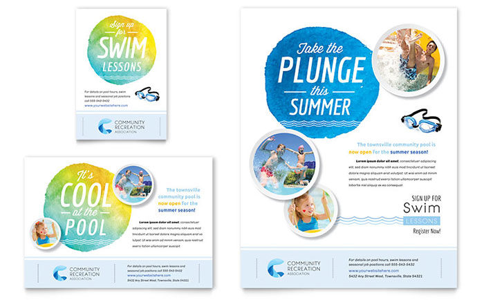 Community swimming pool flyer ad template design for Pool design templates