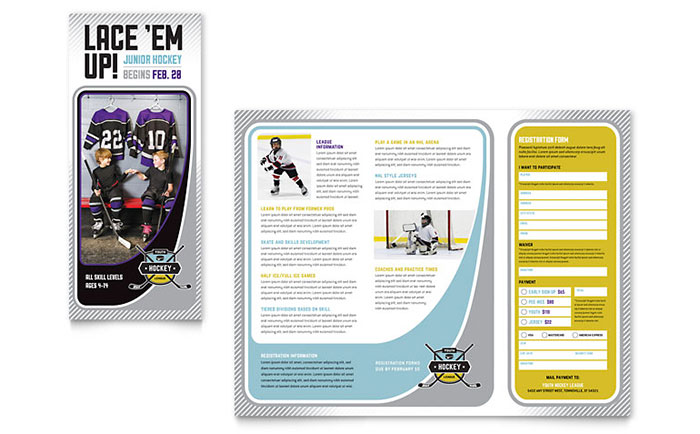 junior hockey camp brochure template design