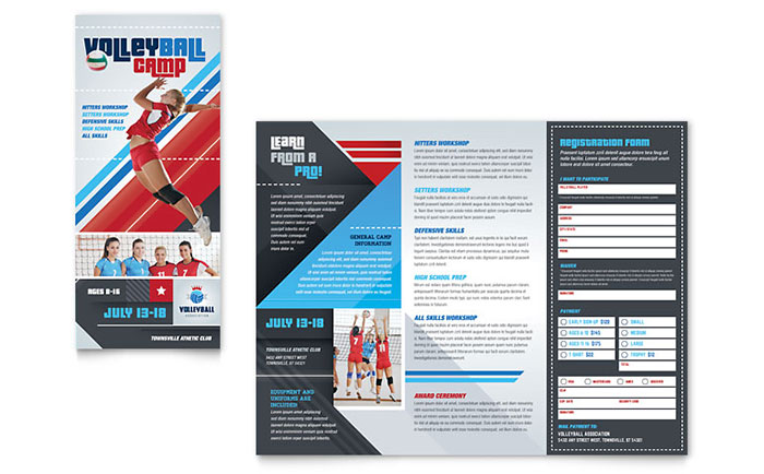 sports camp brochure template - volleyball camp brochure template design