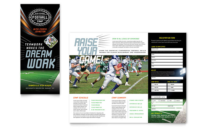 sports camp brochure template - football training brochure template design