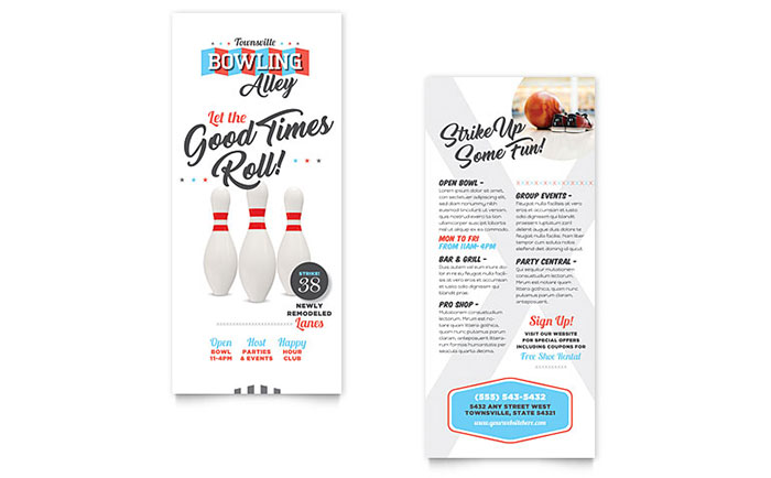 Bowling rack card template design for Rack card template for word