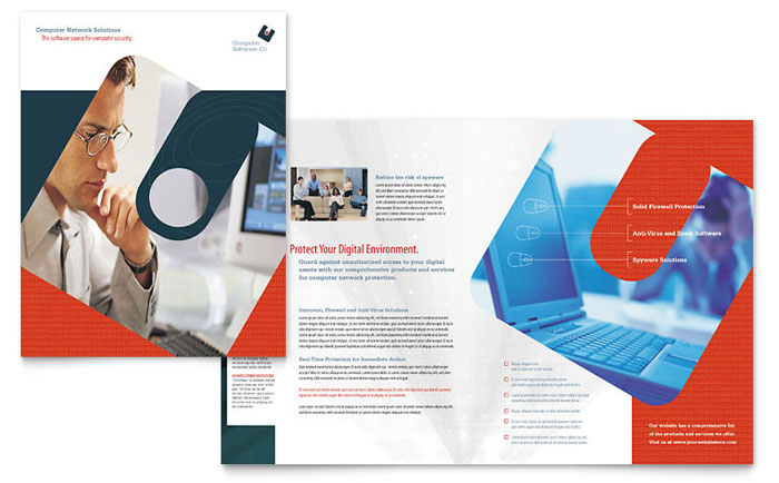 company brochures templates - computer software company brochure template design