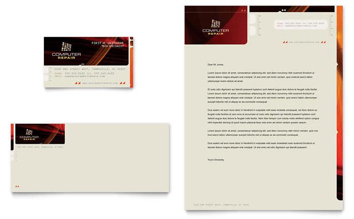 computer repair business card  u0026 letterhead template design