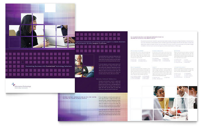 Information technology consultants brochure template design for Information brochure template