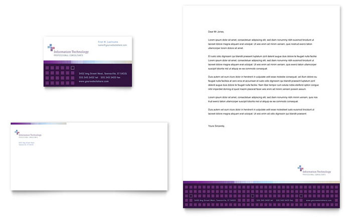 Information Technology Consultants Business Card & Letterhead Template Design