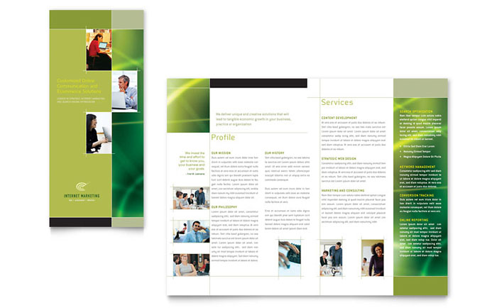 Internet marketing tri fold brochure template design for Marketing brochure template