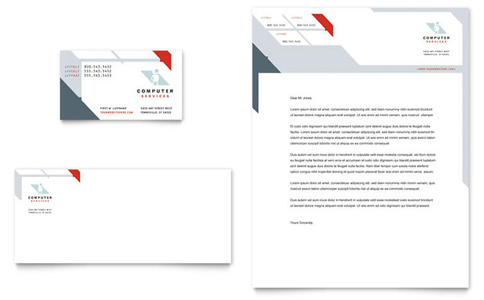 Computer Solutions Business Card & Letterhead Template Design