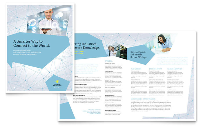 technical brochure template - global network services brochure template design