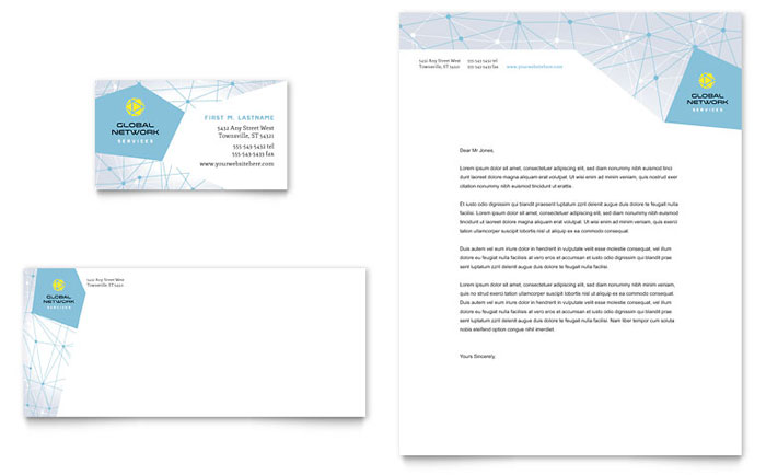 Global Network Services Business Card & Letterhead Template Design