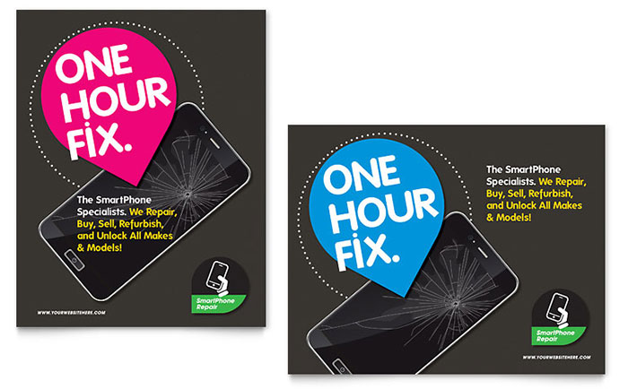 smartphone repair poster template design