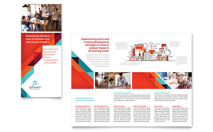 software product brochure template - application software developer tri fold brochure template