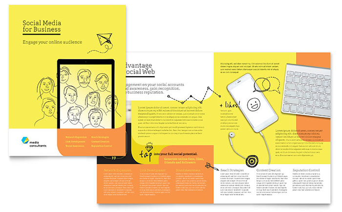 Social media consultant brochure template design for 11x17 half fold brochure template