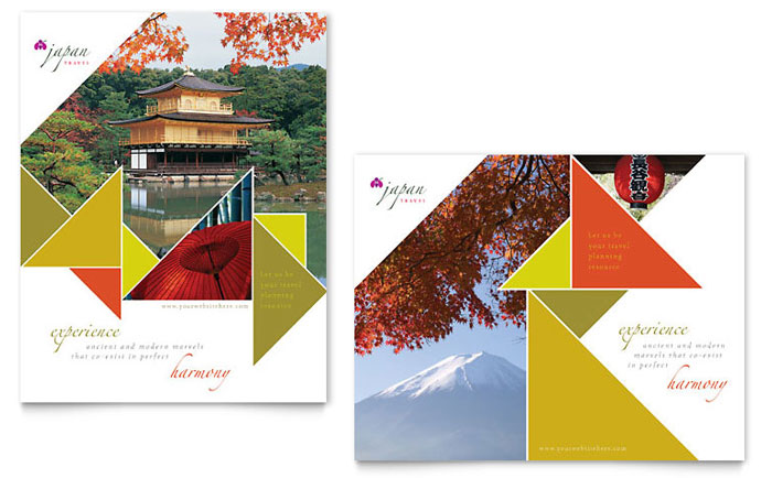 japan travel brochure template - japan travel poster template design